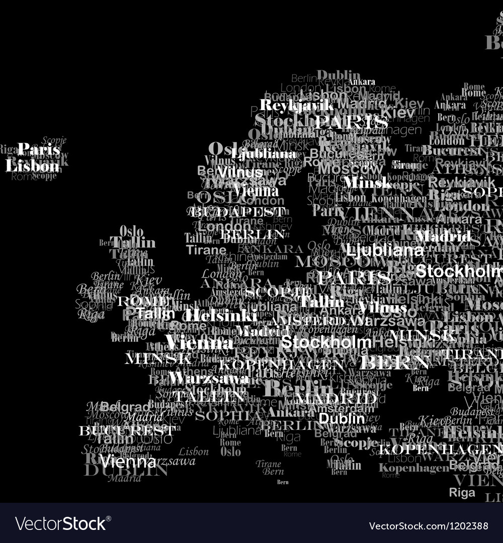Europe silhouette made from capitals names vector