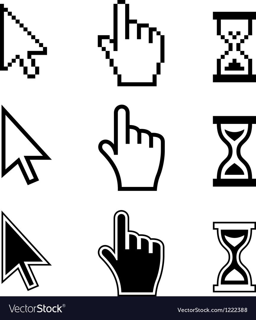 Pixel cursors icons hand arrow hourglass vector