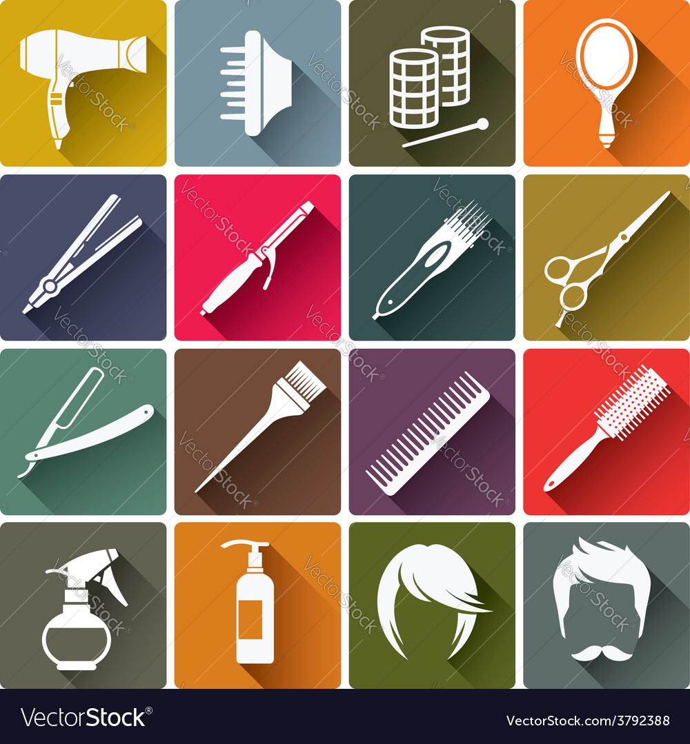 Square colorful hairdressing equipment icons vector