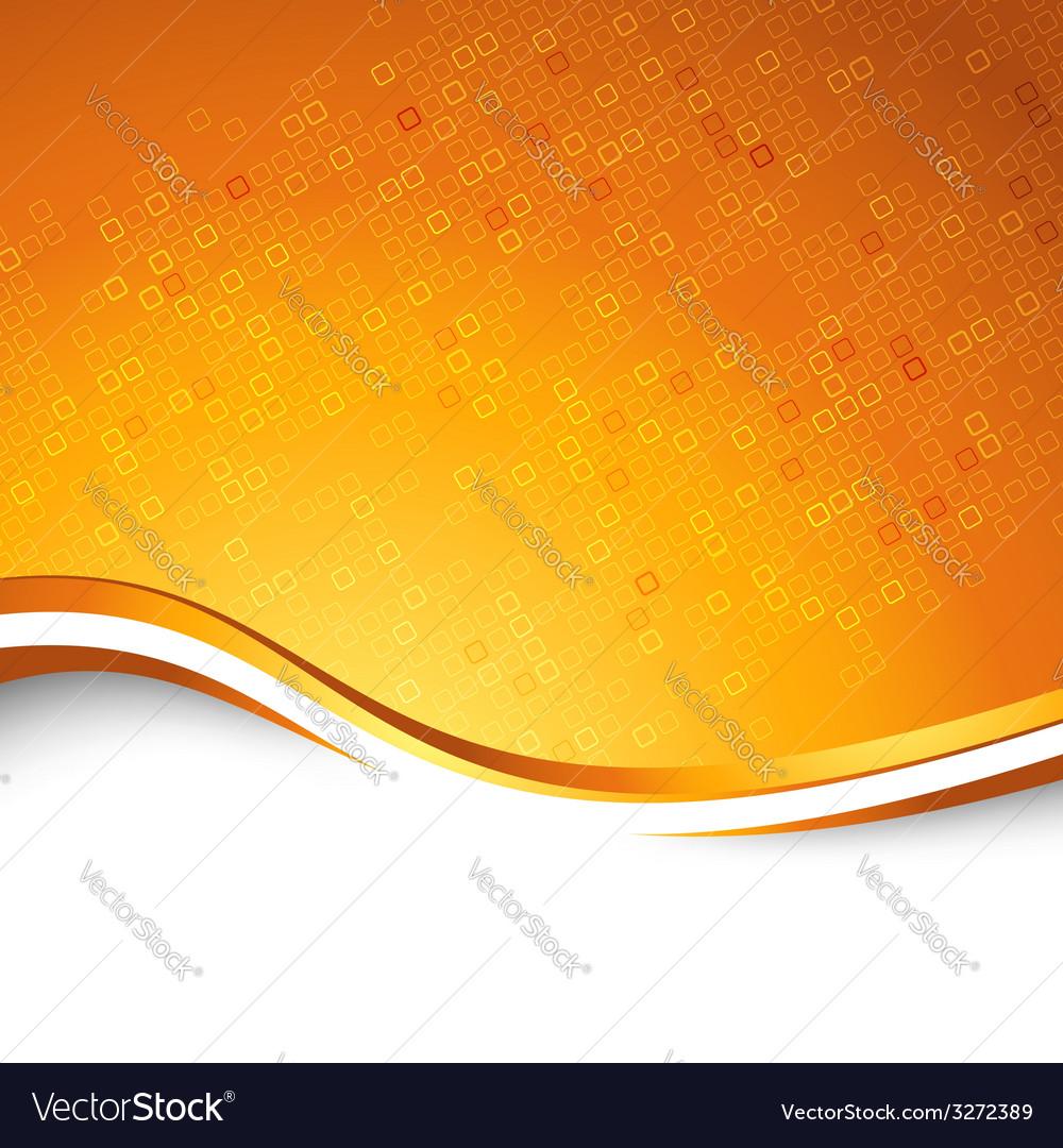 Bright orange swoosh wave particle background vector