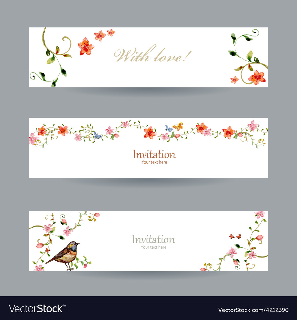 Collection cards with foliate ornament and flowers vector