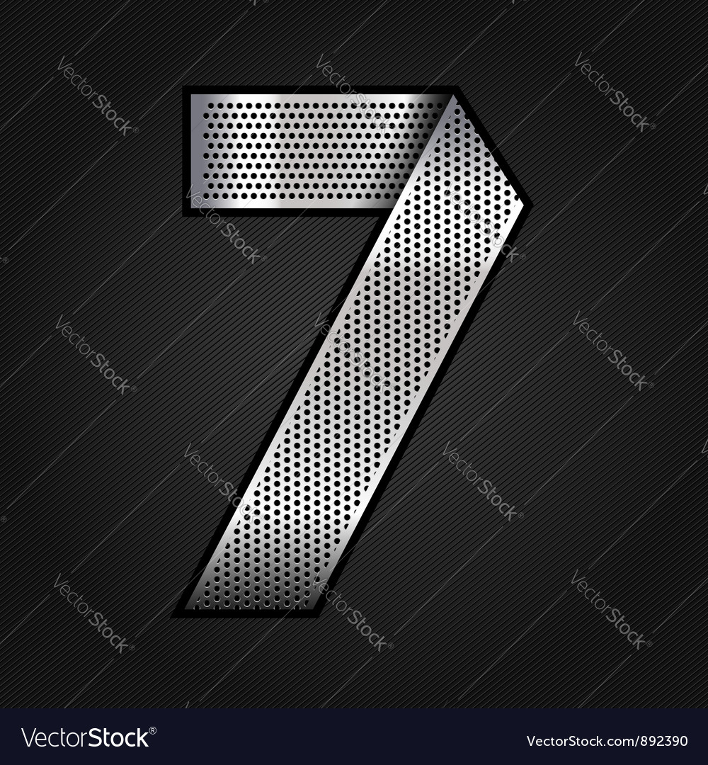 Number metal chrome ribbon - 7 - seven vector