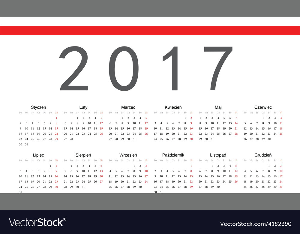 Rectangle polish 2017 year calendar vector