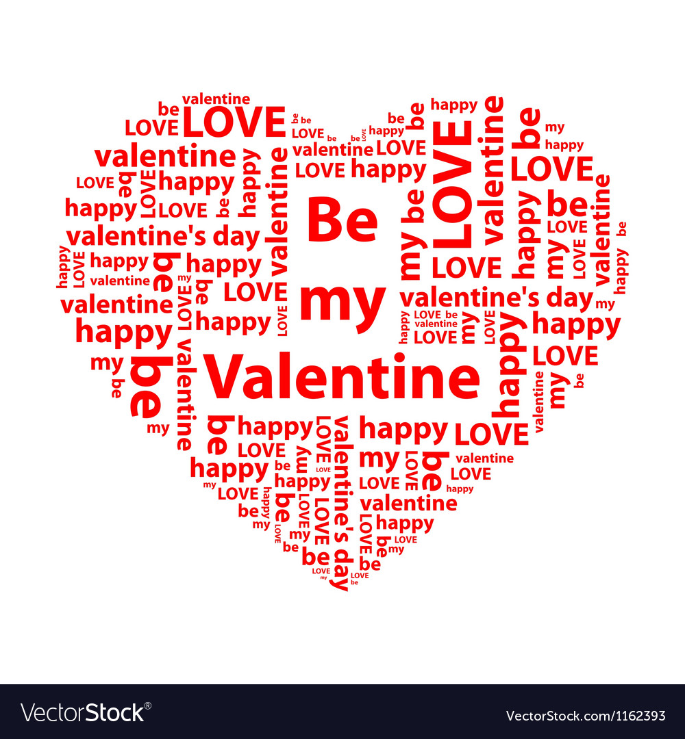 Heart made of red valentine greetings vector