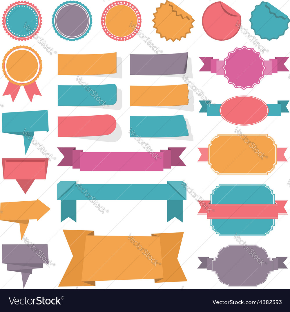 Labels ribbons banners vector