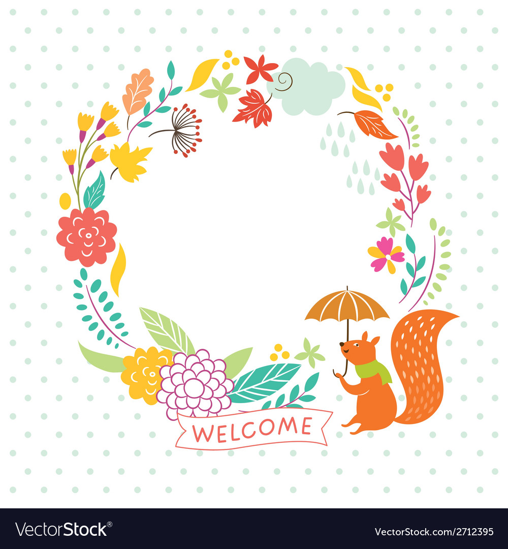 Floral autumn frame welcome lettering ill vector