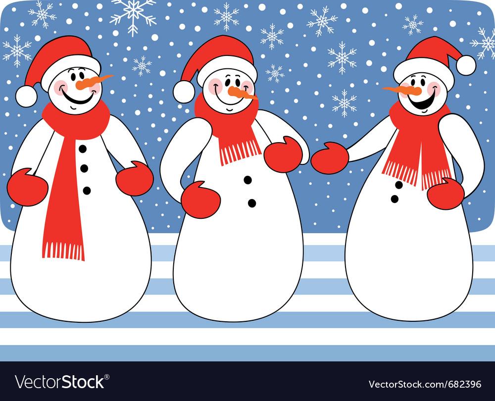 Snowmen trio vector