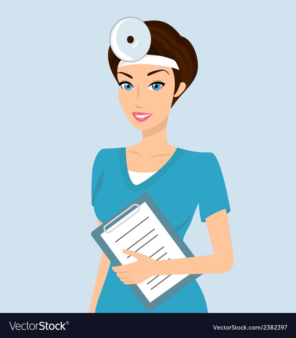 Smiling doctor otolaryngologist vector