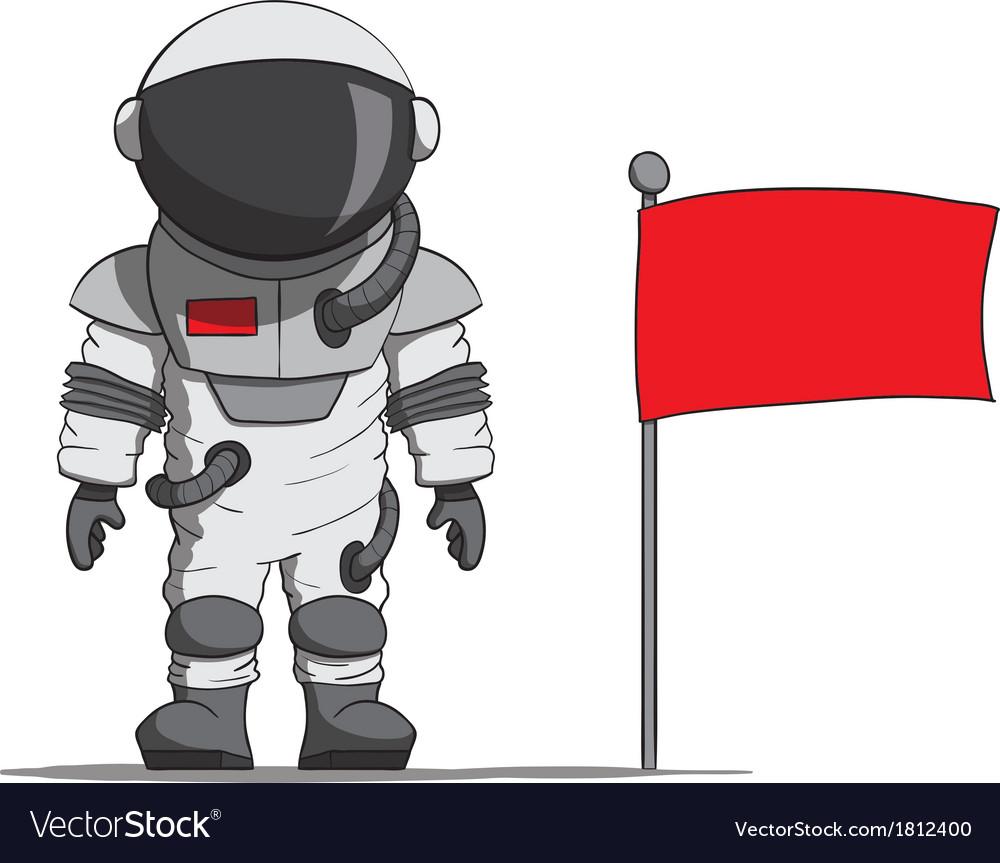 Cartoon astronaut with a flag vector