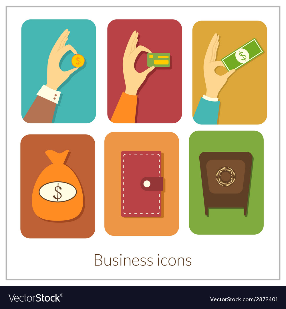 Business rectangular icons with rounded corners vector