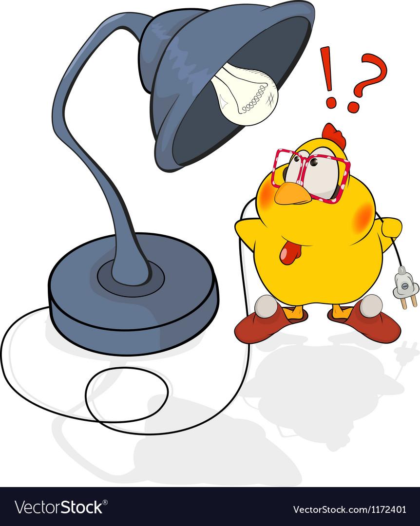 Chicken and a desk lamp cartoon vector