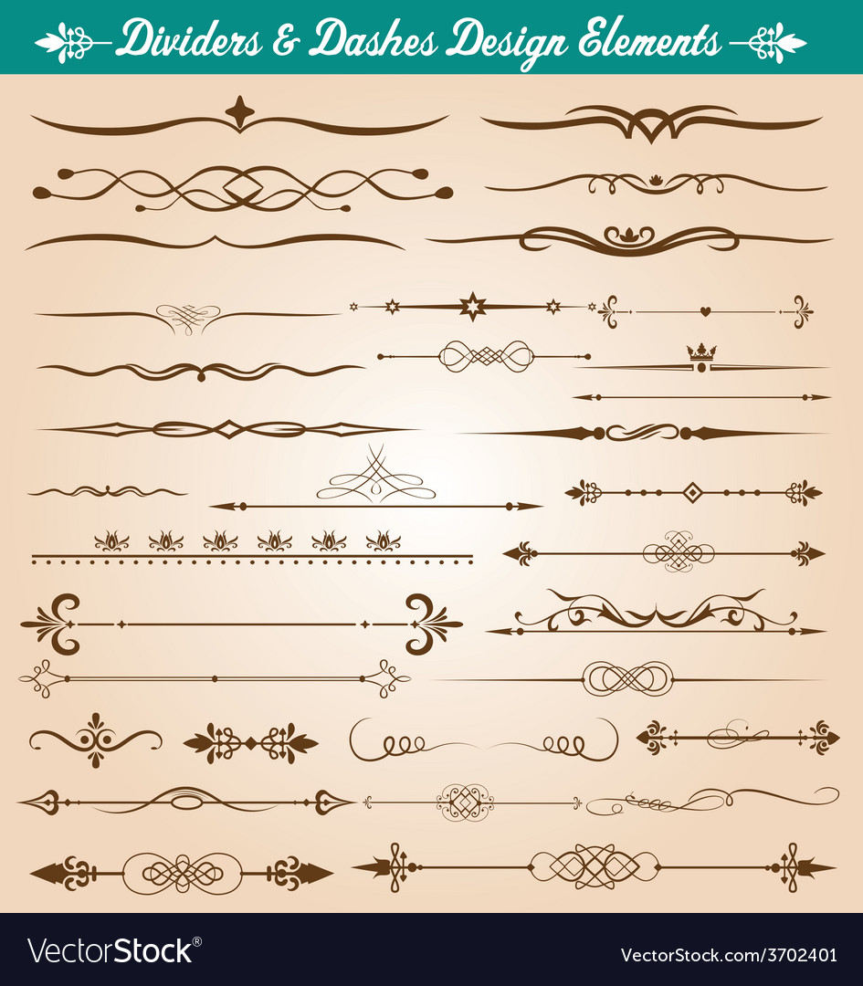 Dividers and dashes design elements vector