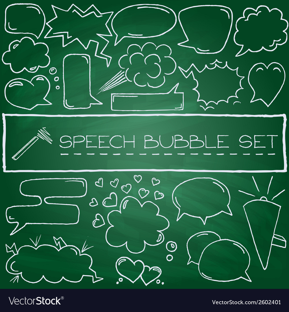 Doodle speech bubbles with hearts and clouds vector