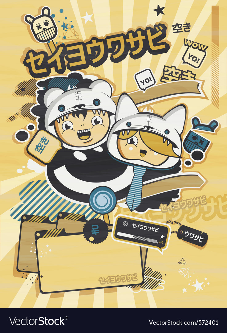 Japanese style anime design vector