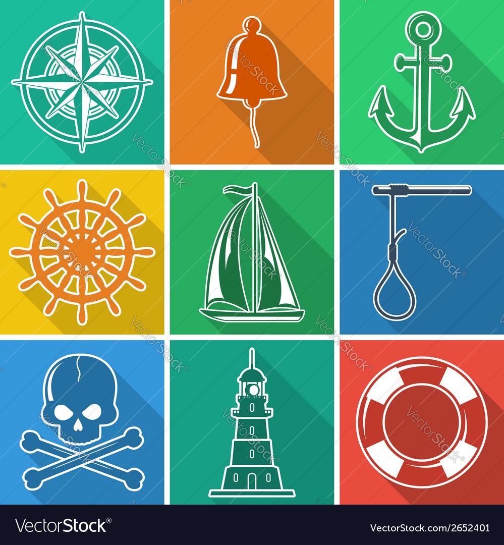 Set of flan nautical icons vector