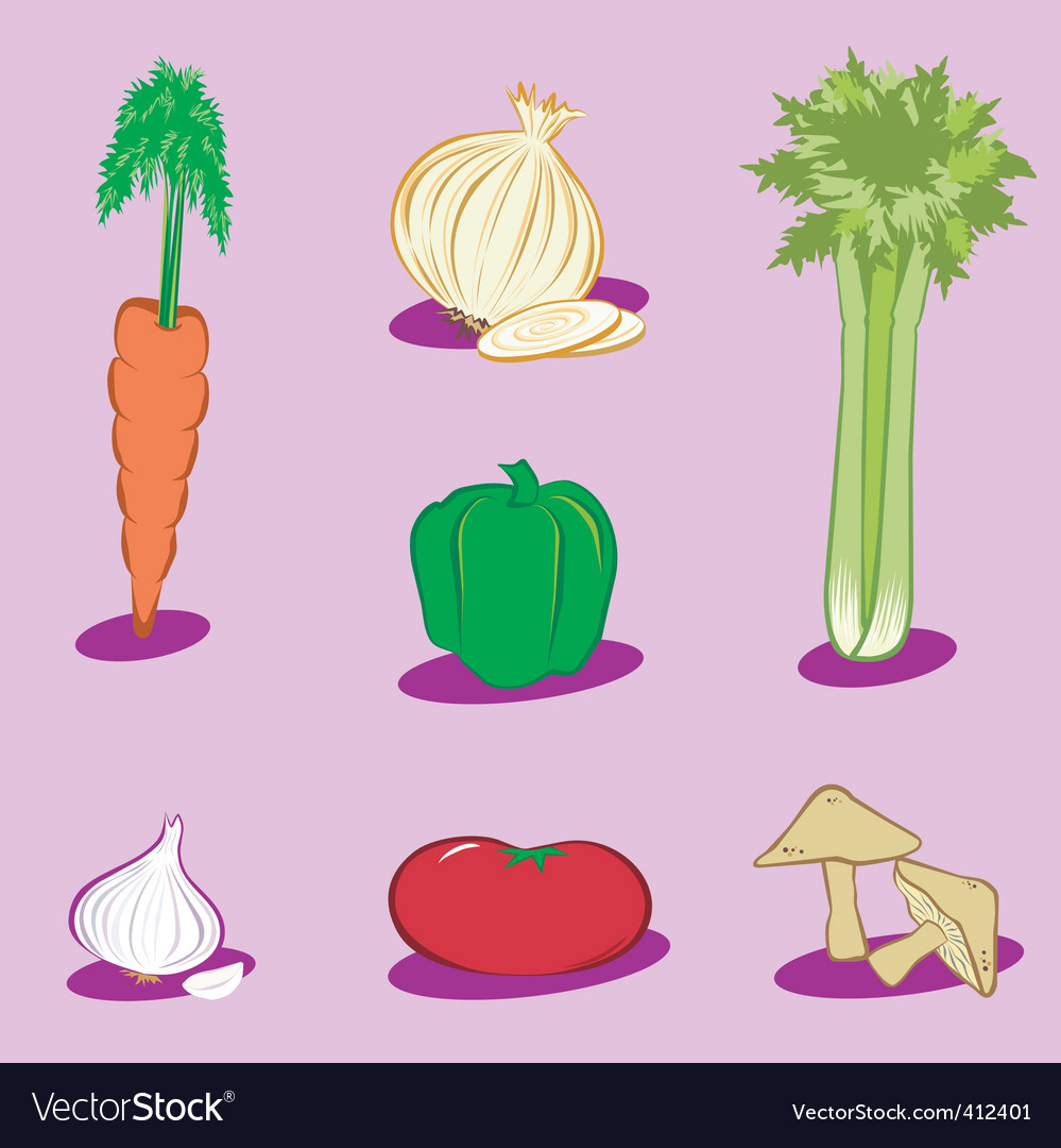 Vegetable icons 1 vector