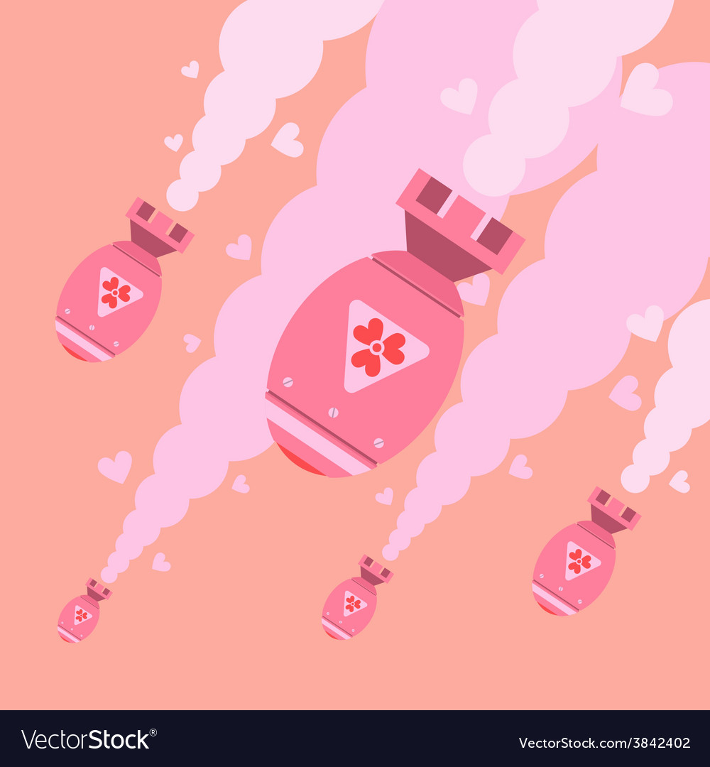 Flat design of love bombs falling form sky vector