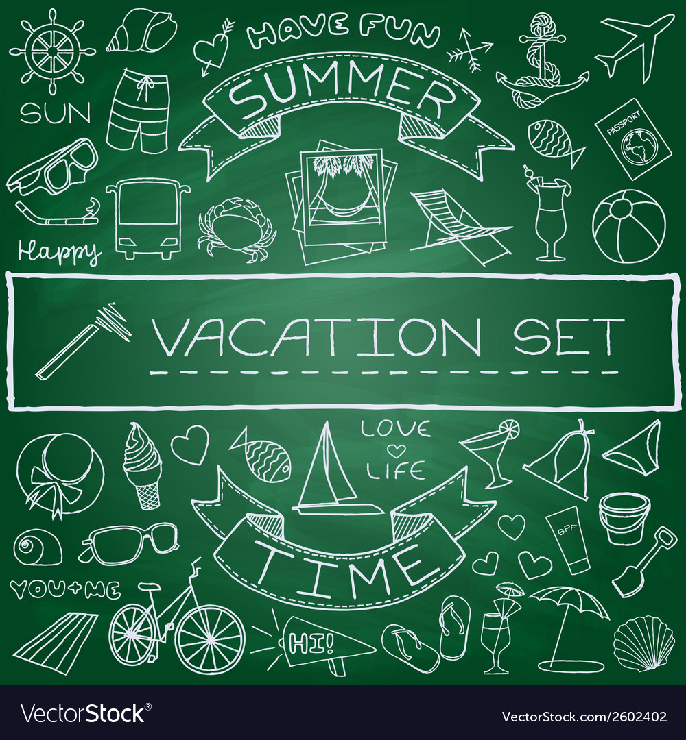 Hand drawn vacation icons set vector