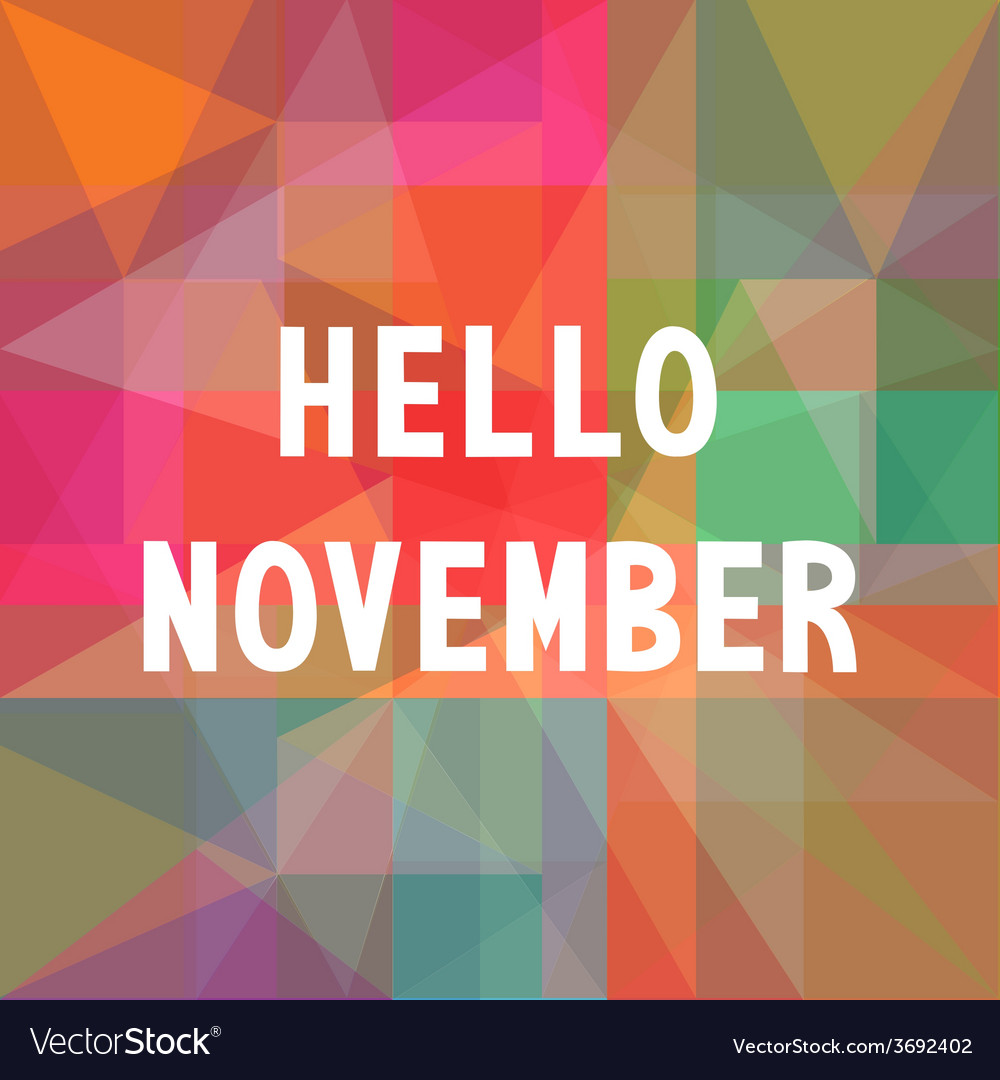 Hello november card1 vector