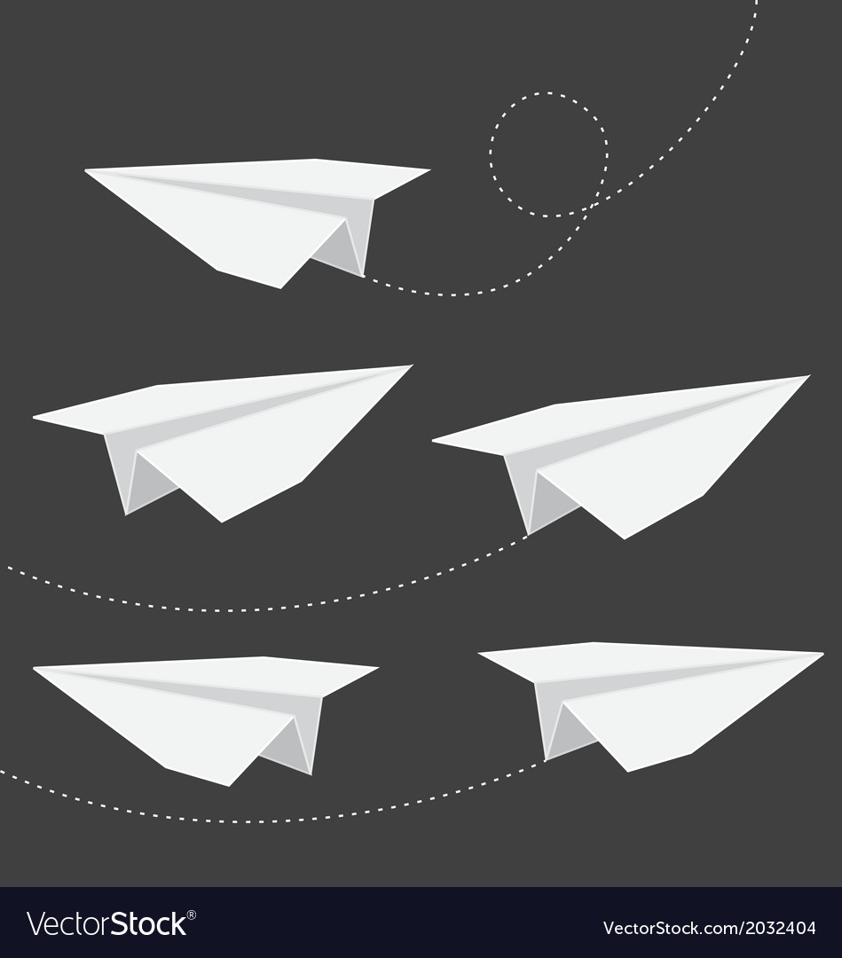 Origami folded paper planes collection vector