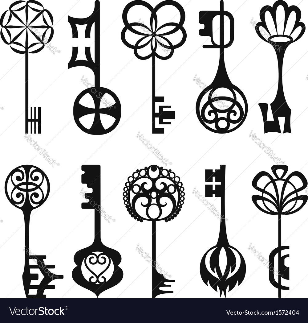 Set of isolated graphical retro keys vector