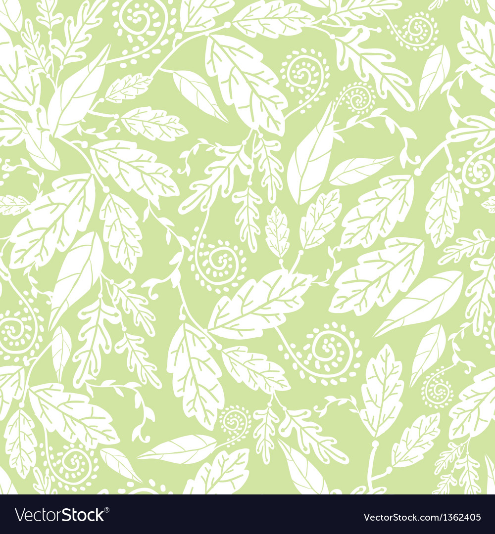 Green and white leaves seamless pattern background vector
