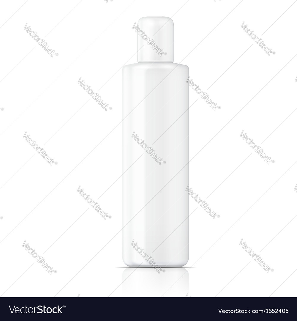 White tubular bottle template vector