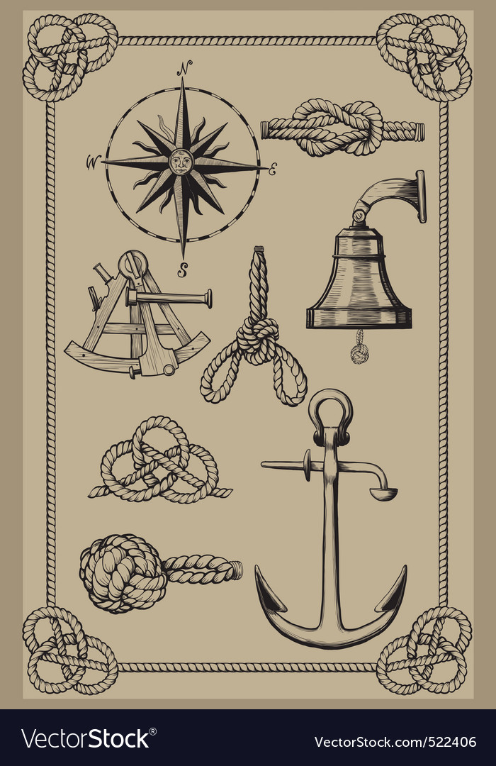 Nautical elements on vintage background vector