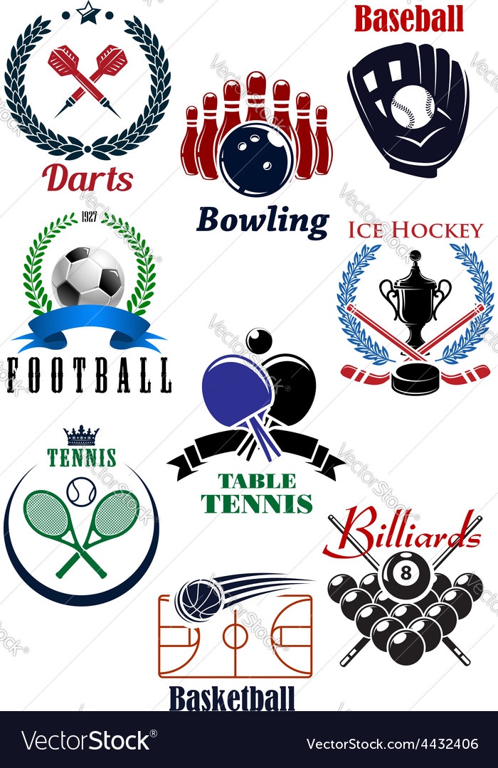 Sporting competition emblems with heraldic design vector