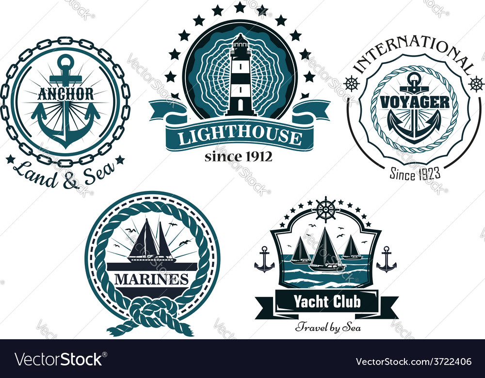 Vintage marine in blue and white emblems and vector