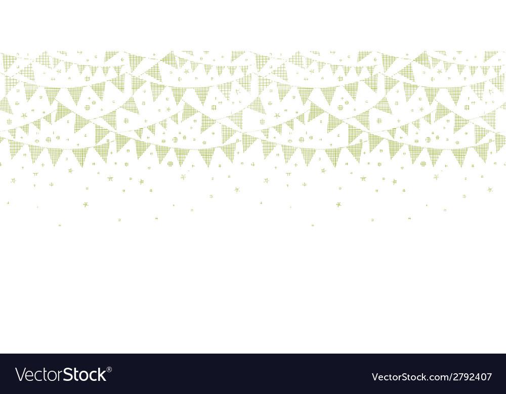 Green textile party bunting horizontal seamless vector
