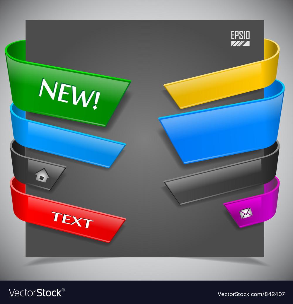 Set of color plastic ribbons vector
