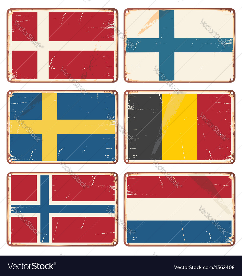 Set of vintage metal signs with flags vector