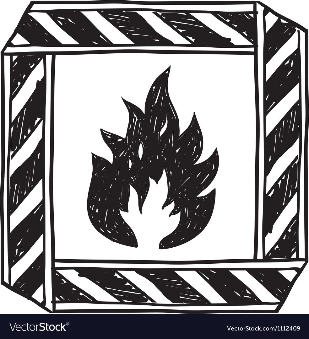 Doodle flammable vector