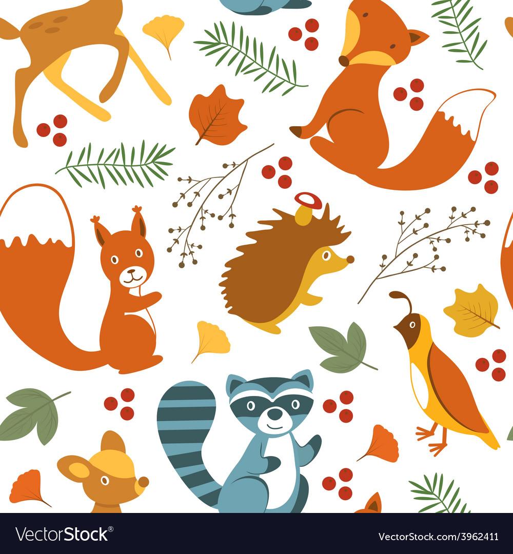 Cute woodland animals pattern vector