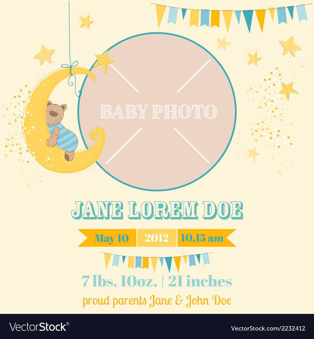 Baby arrival card - sleeping bear theme vector