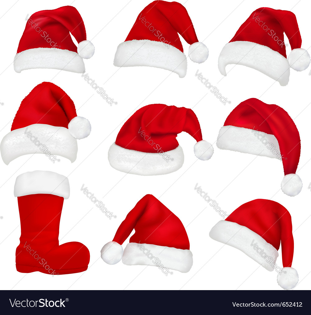 Red santa hats and boot vector