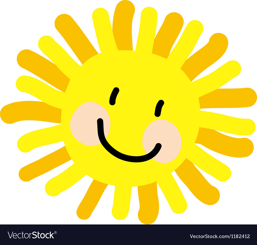 Sun child drawing vector