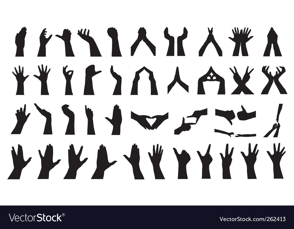 Human hand silhouettes set vector