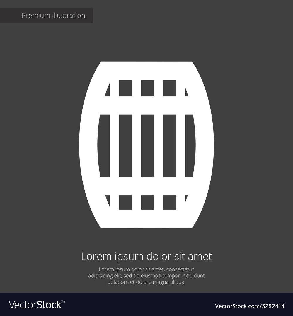 Barrel premium icon white on dark background vector