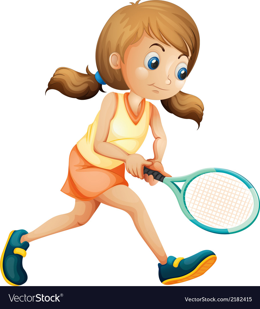 A young lady playing tennis vector