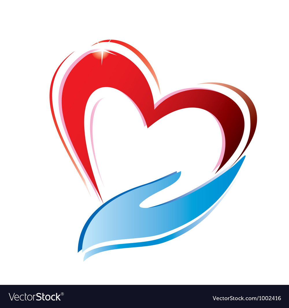 Heart and hand vector