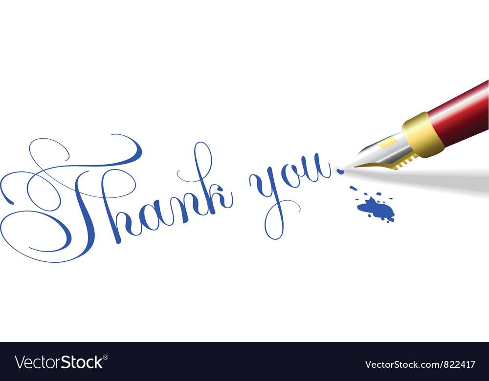 Thank you note fountain pen vector