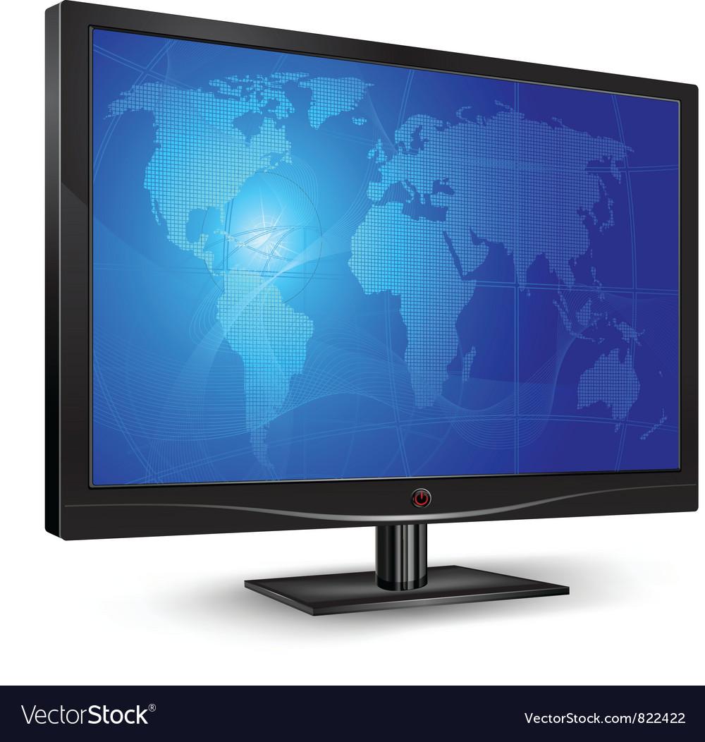 Monitor blue world map vector