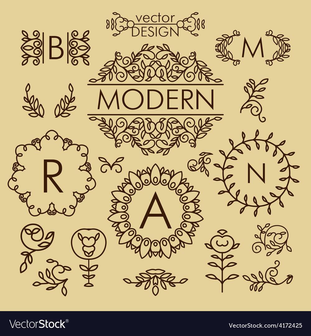 Set of line design elements for logos frames and vector