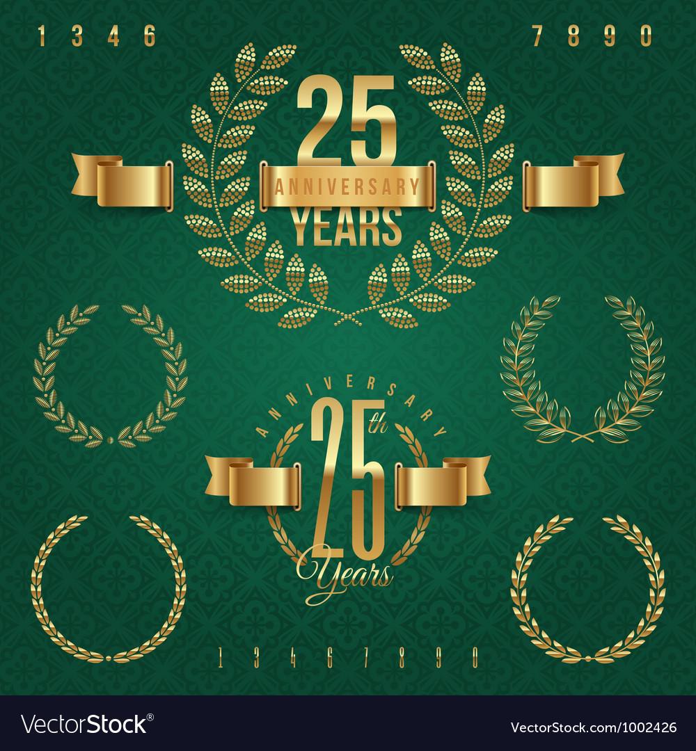 Anniversary golden emblems and decorative elements vector