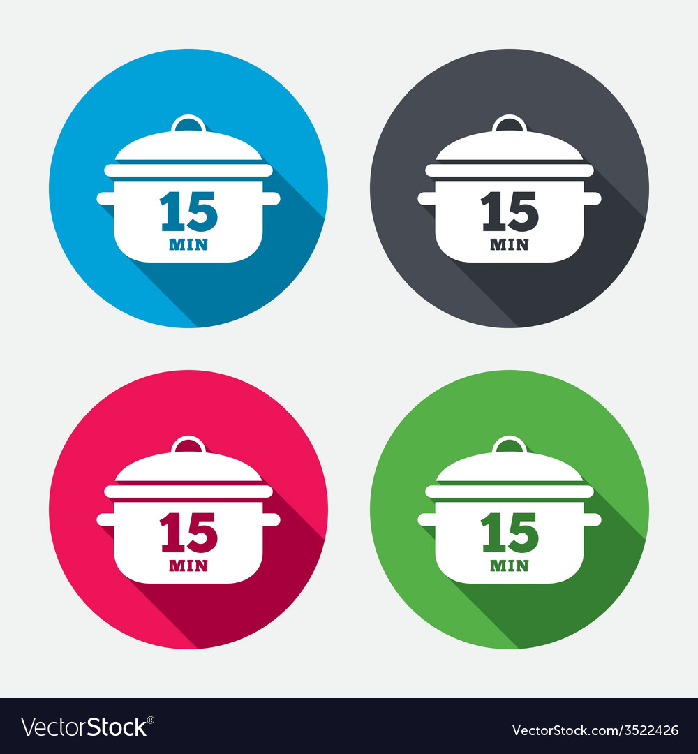 Boil 15 minutes cooking pan sign stew food vector