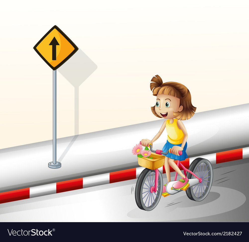 A girl biking at the road vector