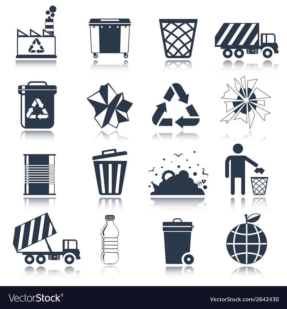 Garbage icons black vector