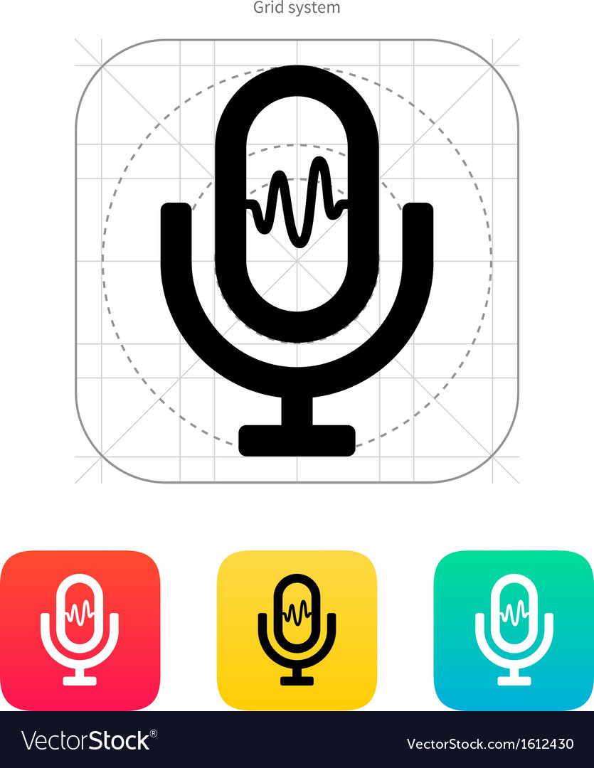 Microphone signal icon vector